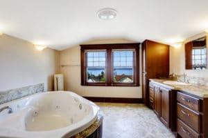 a beautiful bathroom with a large bath tub